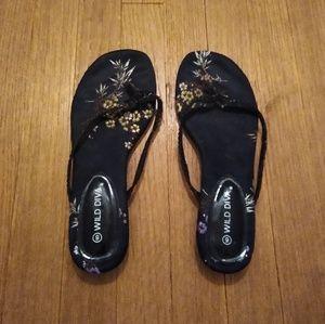 Shoes - Black Floral Flip Flops
